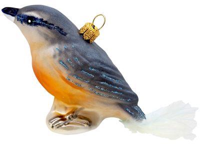 Christbaumschmuck Weihnachtsbaumschmuck Weihnachtsdeko Vogel Blau Gold Glas Weihnachten