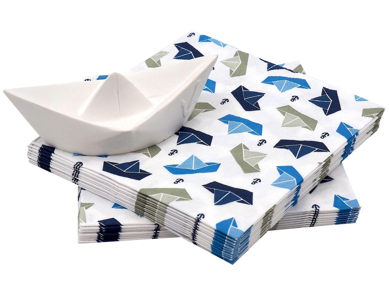 Tischdeko Servietten Papierboot Figur Papierschiff Boot Maritim Deko Taufe Kommunion SET