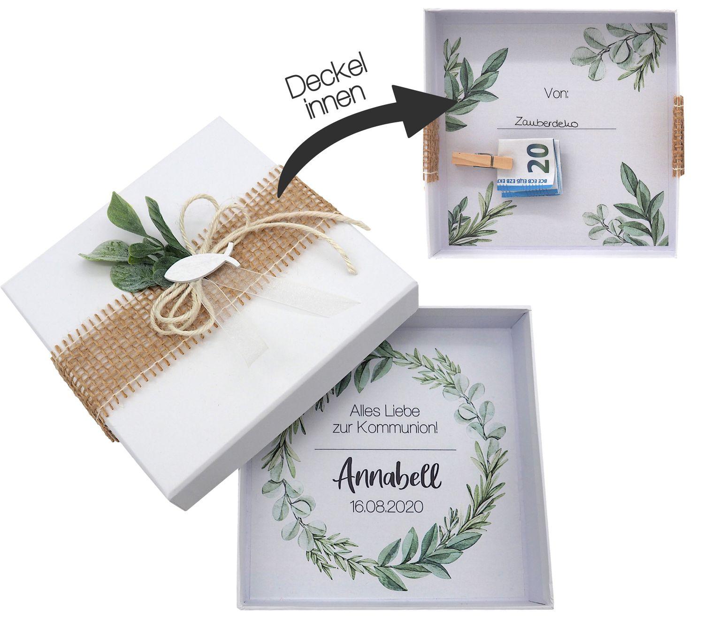 Geldgeschenk Verpackung Personalisiertes Geschenk Kommunion Konfirmation Fisch Weiß Eukalyptus Blätterkranz Mit Name