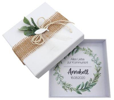 Geldgeschenk Verpackung Personalisiertes Geschenk Kommunion Konfirmation Fisch Weiß Eukalyptus