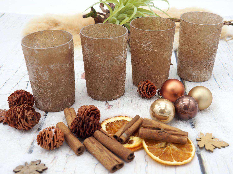 Kerzenhalter Teelichthalter Braun Glas Deko Advent Weihnachten Tischdeko 4 Stück