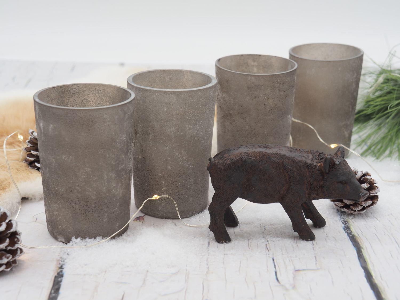 Kerzenhalter Teelichthalter Taupe Grau Glas Deko Advent Weihnachten Tischdeko 4 Stück