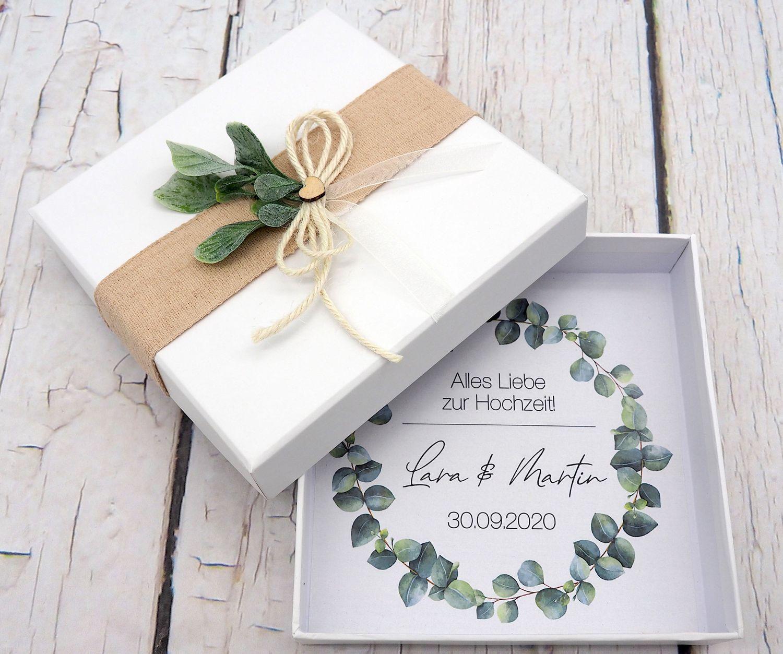 Geldgeschenk Verpackung Personalisiertes Geschenk Hochzeit Herz Weiß Eukalyptus Blätterkranz Mit Namen