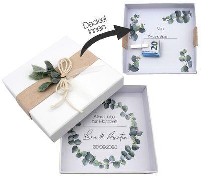 Geldgeschenk Verpackung Personalisiertes Geschenk Hochzeit Herz Weiß Eukalyptus
