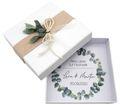 Geldgeschenk Verpackung Personalisiertes Geschenk Hochzeit Herz Weiß Eukalyptus Blätterkranz Mit Namen 1