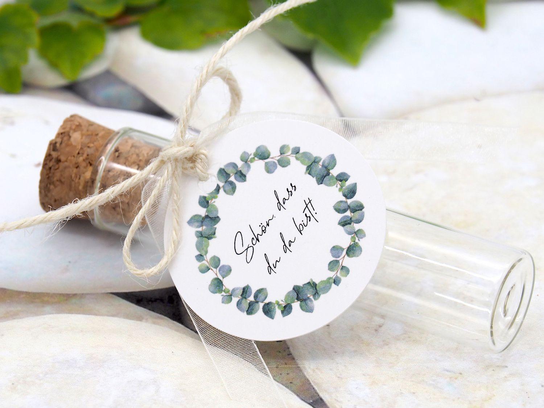 Gastgeschenke Hochzeit Eukalyptus Glasröhrchen Tischdeko Grün Geburtstag Deko 5 Stück