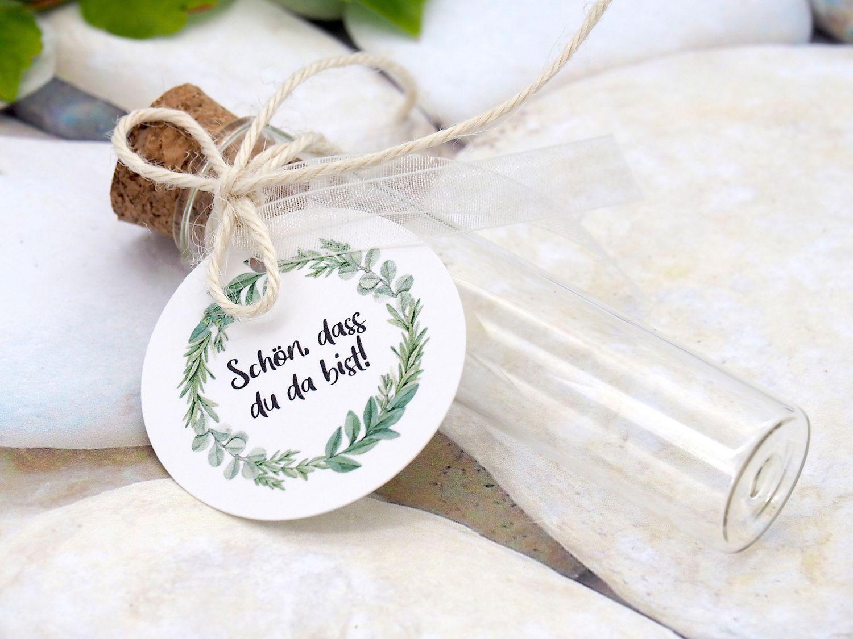 Gastgeschenke Kommunion Konfirmation Hochzeit Geburtstag Glasröhrchen Eukalyptus Blätterkranz Tischdeko 5 Stück