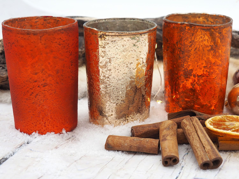 Kerzenhalter Teelichthalter Orange Kupfer Tischdeko Herbst Weihnachten 3 Stück