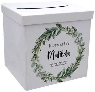 Briefbox Kartenbox Kommunion Konfirmation Eukalyptus Blätterkranz Geburtstag Personalisiertes Geschenk