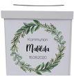 Briefbox Kartenbox Kommunion Konfirmation Eukalyptus Blätterkranz Geburtstag Personalisiertes Geschenk 2