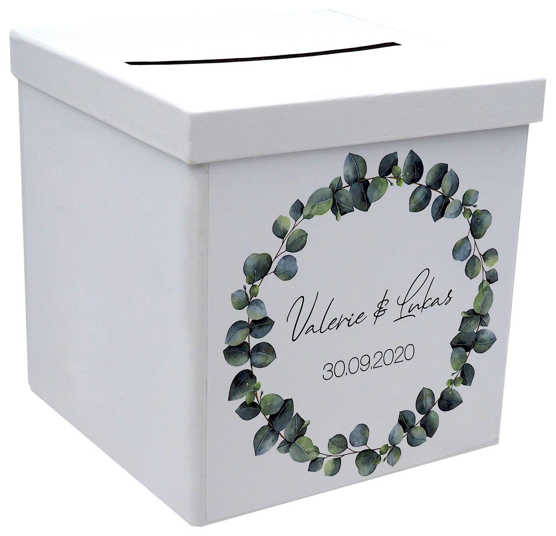 Briefbox Kartenbox Hochzeit Eukalyptus Blätterkranz Geburtstag Personalisiertes Geschenk
