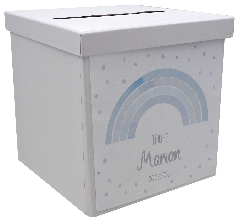 Briefbox Kartenbox Regenbogen Blau Taufe Kommunion Konfirmation Tischdeko Personalisiertes Geschenk