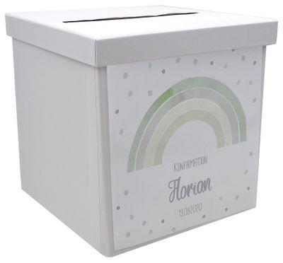 Briefbox Kartenbox Regenbogen Grün Taufe Kommunion Konfirmation Tischdeko Personalisiertes Geschenk