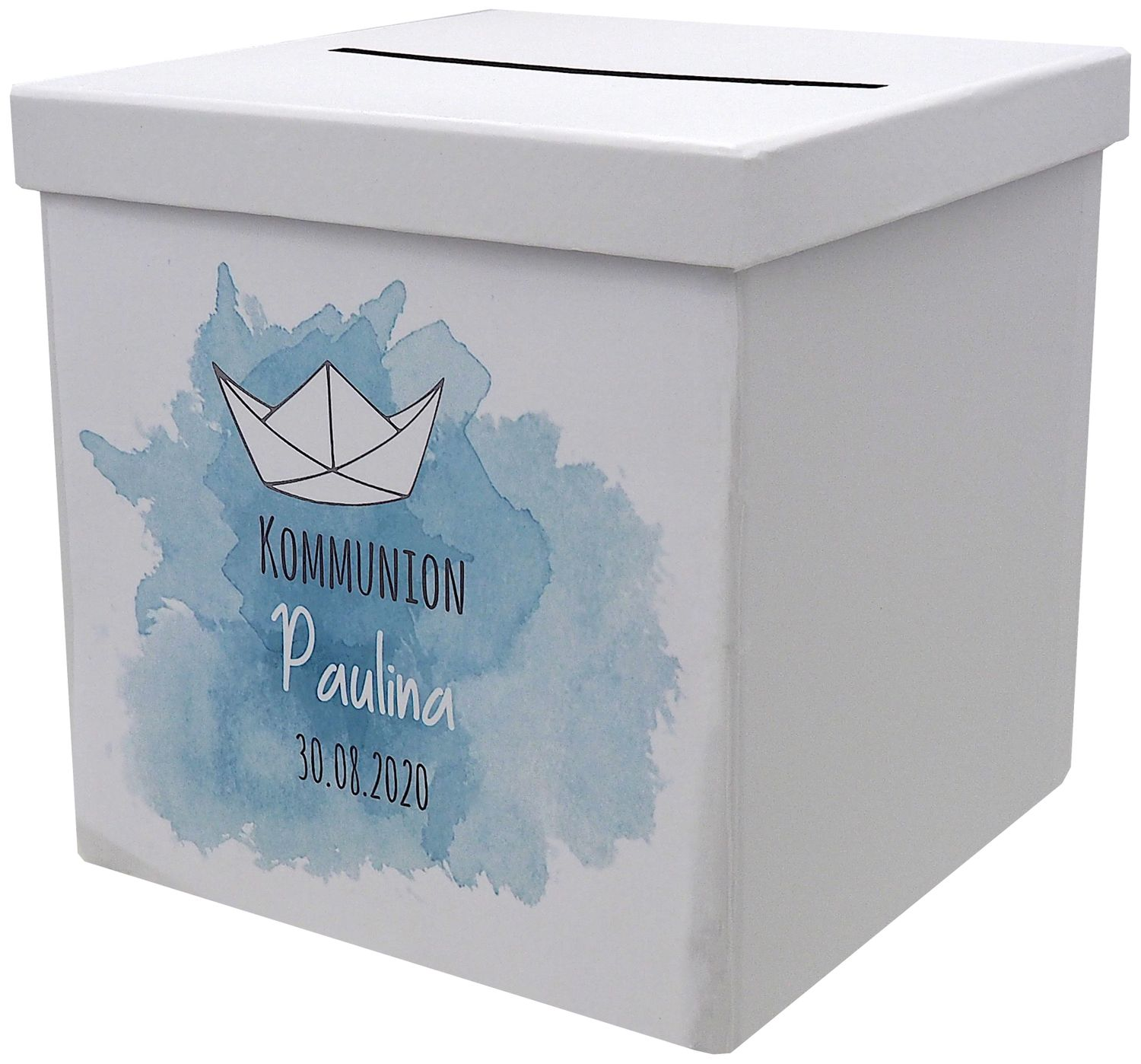 Briefbox Kartenbox Taufe Kommunion Konfirmation Boot Papierboot Tischdeko Personalisiertes Geschenk