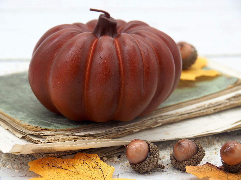 Kerze Kürbis Orange Braun Herbstdeko Herbst Deko Tischdeko Halloween Thanksgiving