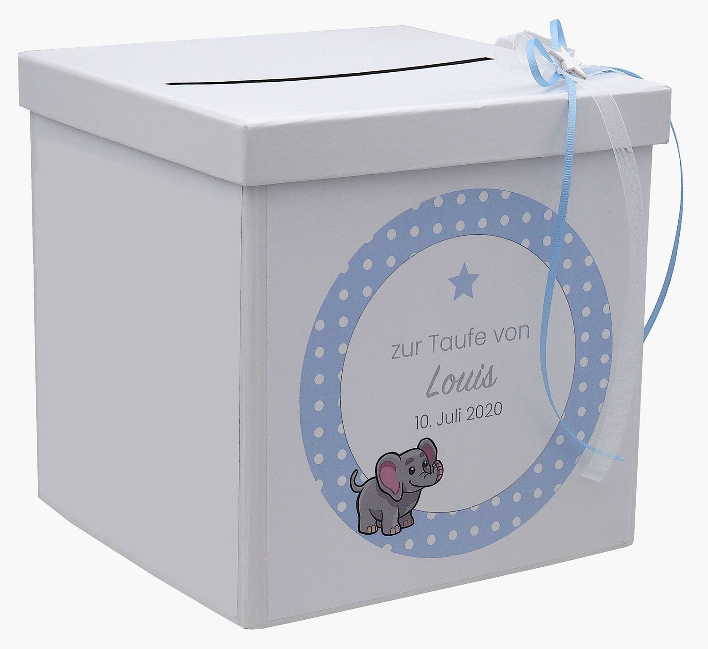 Briefbox Kartenbox Taufe Blau Baby Geburt Tischdeko Personalisiertes Geschenk
