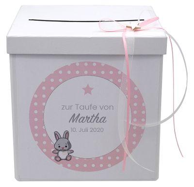 Briefbox Kartenbox Taufe Rosa Baby Geburt Tischdeko Personalisiertes Geschenk