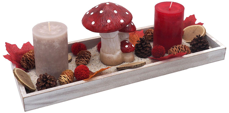 Tablett Herbst Herbstdeko Tischdeko Deko Kerze Pilz Fliegenpilz Rot Holz Natur