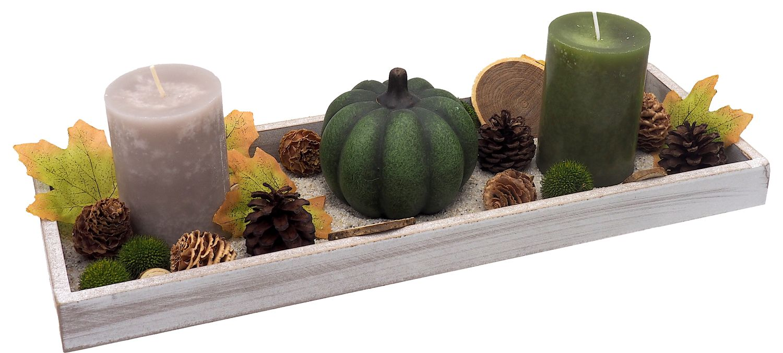 Tablett Herbst Herbstdeko Tischdeko Deko Kerze Kürbis Grün Braun Holz Natur