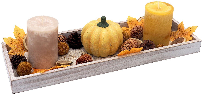 Tablett Herbst Herbstdeko Tischdeko Deko Kerze Kürbis Gelb Holz Natur