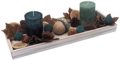 Tablett Herbst Herbstdeko Tischdeko Deko Kerze Eichel Petrol Braun Holz Natur