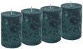 4 Stumpenkerzen Kerzen Blau Petrol Tischdeko Party Deko Adventskerzen 1