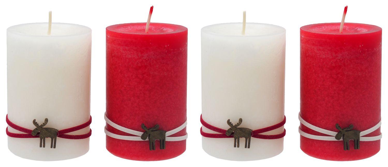 4 Adventskerzen Kerzen Stumpenkerzen Adventskranz Rot Creme Elch Weihnachten Advent Deko Tischdeko