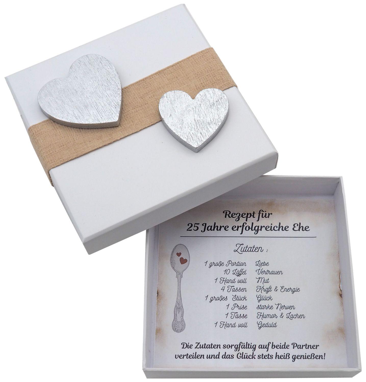 Geldgeschenk Verpackung Silberhochzeit Geschenk Rezept für 25 Jahre Ehe Silberne Hochzeit
