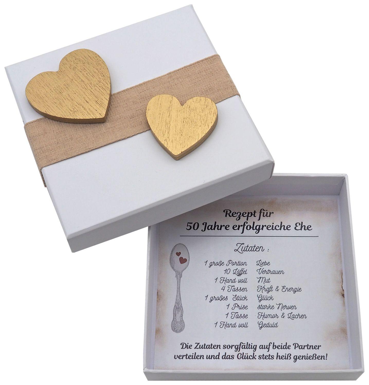 Geldgeschenk Verpackung Goldene Hochzeit Geschenk Rezept für 50 Jahre Ehe Goldhochzeit