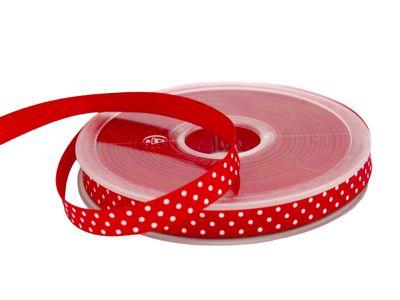 20m Schleifenband Dekoband Geschenkband Rot Punkte Basteln
