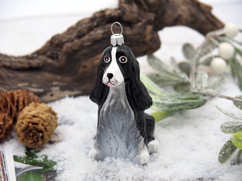 Weihnachtsbaumschmuck Christbaumschmuck Glas Hund Cocker Spaniel Schwarz Weihnachtsdeko Weihnachten