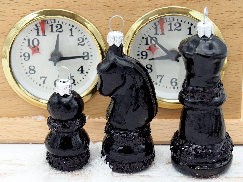 Weihnachtsbaumschmuck Christbaumschmuck Schach Schachfigur Schwarz Weihnachtsdeko Weihnachten 3 Stück