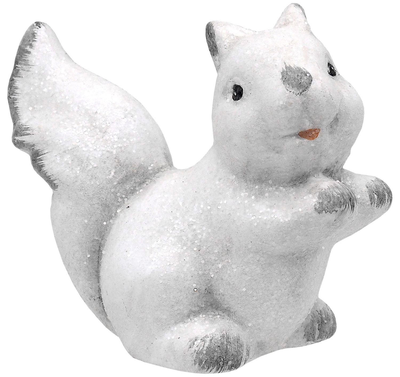 Deko Figur Weihnachtsdeko Winter Tiere Weiß Eichhörnchen Eule Fuchs Igel Weihnachten