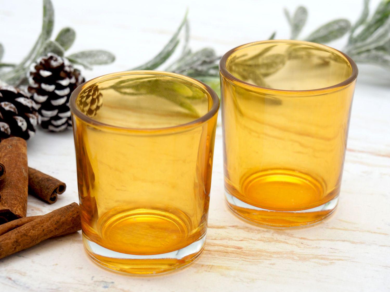 Teelichthalter Teelichtgläser Gelb Senf Tischdeko Deko Herbst Geburtstag Party 2 Stück