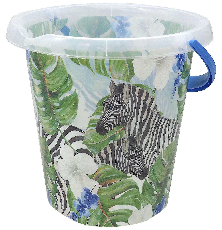 Putzeimer Wassereimer 12 Liter Motiv Zebra Dschungel Eimer Kunststoffeimer Motiveimer Wischeimer