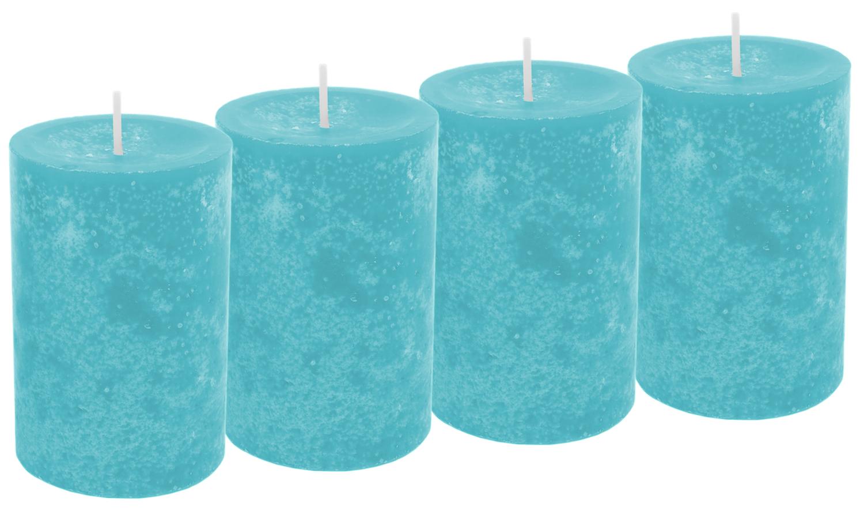 4 Stumpenkerzen Kerzen Türkis Tischdeko Party Deko Weihnachten Adventskranz