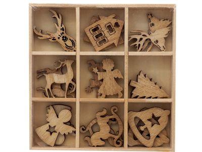Streuteile Weihnachten Holz Natur Streudeko Holzstreuteile 2-3 cm Basteln Advent Tischdeko 18 Stück BOX