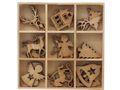Streuteile Weihnachten Holz Natur Streudeko Holzstreuteile 2-3 cm Basteln Advent Tischdeko 18 Stück BOX 1