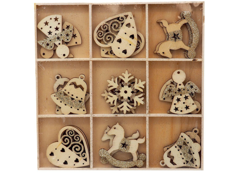 Streuteile Weihnachten Holz Natur Gold Glitzer Streudeko Holzstreuteile 4-5 cm Basteln Advent Tischdeko 18 Stück BOX
