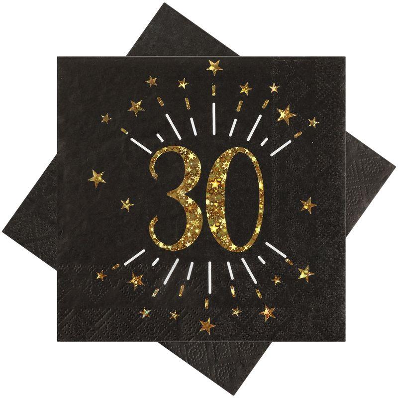 Servietten Tischdeko Geburtstag Schwarz Zahlen Gold 18 20 30 40 50 60 70 Jubiläum Party Deko