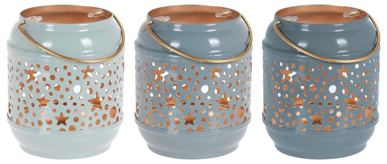 Windlicht Kerzenhalter Teelichthalter Stern Blau Graublau Laterne Metall Vintage Deko 3 Stück