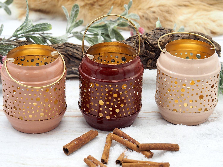 Windlicht Kerzenhalter Teelichthalter Punkte Rosa Altrosa Beere Laterne Metall Vintage Deko 3 Stück