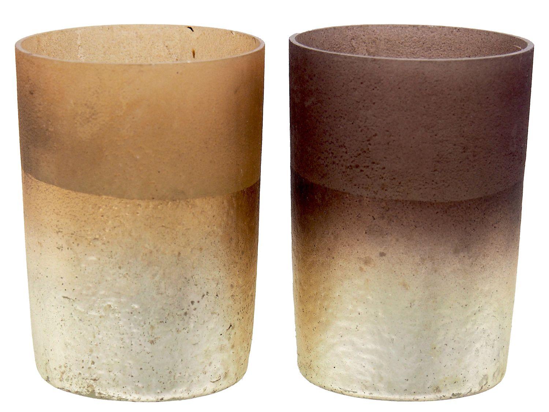 Kerzenhalter Teelichthalter Glas Braun Beige Gold Tischdeko Deko Advent Weihnachten Geburtstag 2 Stück
