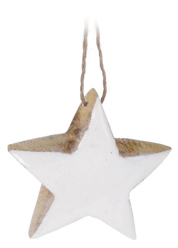 Anhänger Weihnachtsbaum Baumschmuck Holz Schneeflocke Stern WEISS Natur Christbaumanhänger Weihnachten Deko