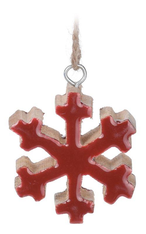 Anhänger Weihnachtsbaum Baumschmuck Holz Schneeflocke Stern ROT Natur Weihnachten Deko