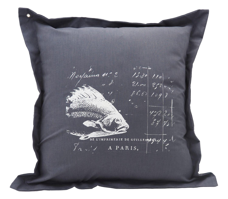 Kissenhülle Anthrazit Fisch 40 x 40 cm Kissenbezug Sofakissen Wohnaccessoire Maritim Deko