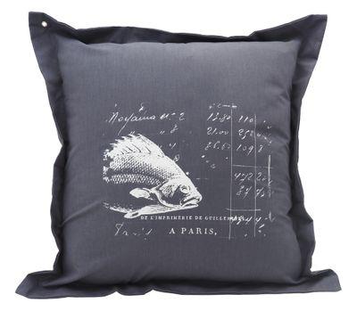 Kissenhülle Fisch Anthrazit 40 x 40 cm Kissenbezug Sofakissen Wohnaccessoire Maritim Deko