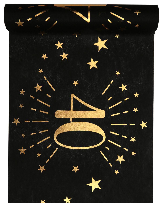 Tischläufer Tischband Schwarz Gold Geburtstag Zahlen 18 20 30 40 50 60 70 Party Tischdeko