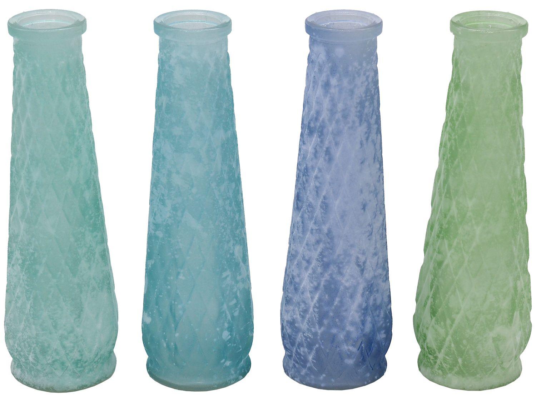 Vase Blumenvase Blau Türkis Grün Blau Glas Glasvase Tischdeko Maritime Deko 4 Stück