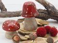Fliegenpilz Pilz Holz Rot Deko Figur Advent Weihnachten Adventskranz Herbst Deko Tischdeko 2 Stück 2